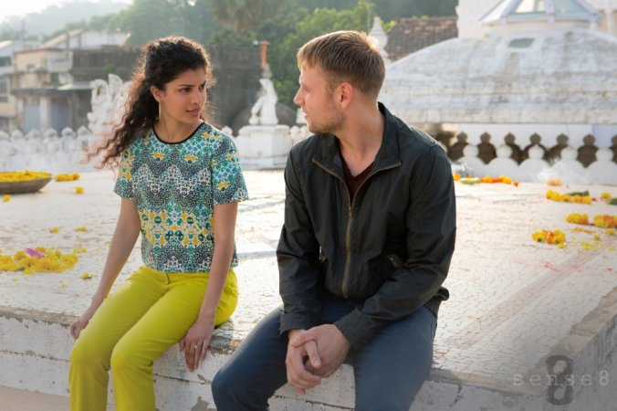 © 2015 Netflix Still of Max Riemelt (Wolfgang) and Tina Desai (Kala) in Sense8 (2015)
